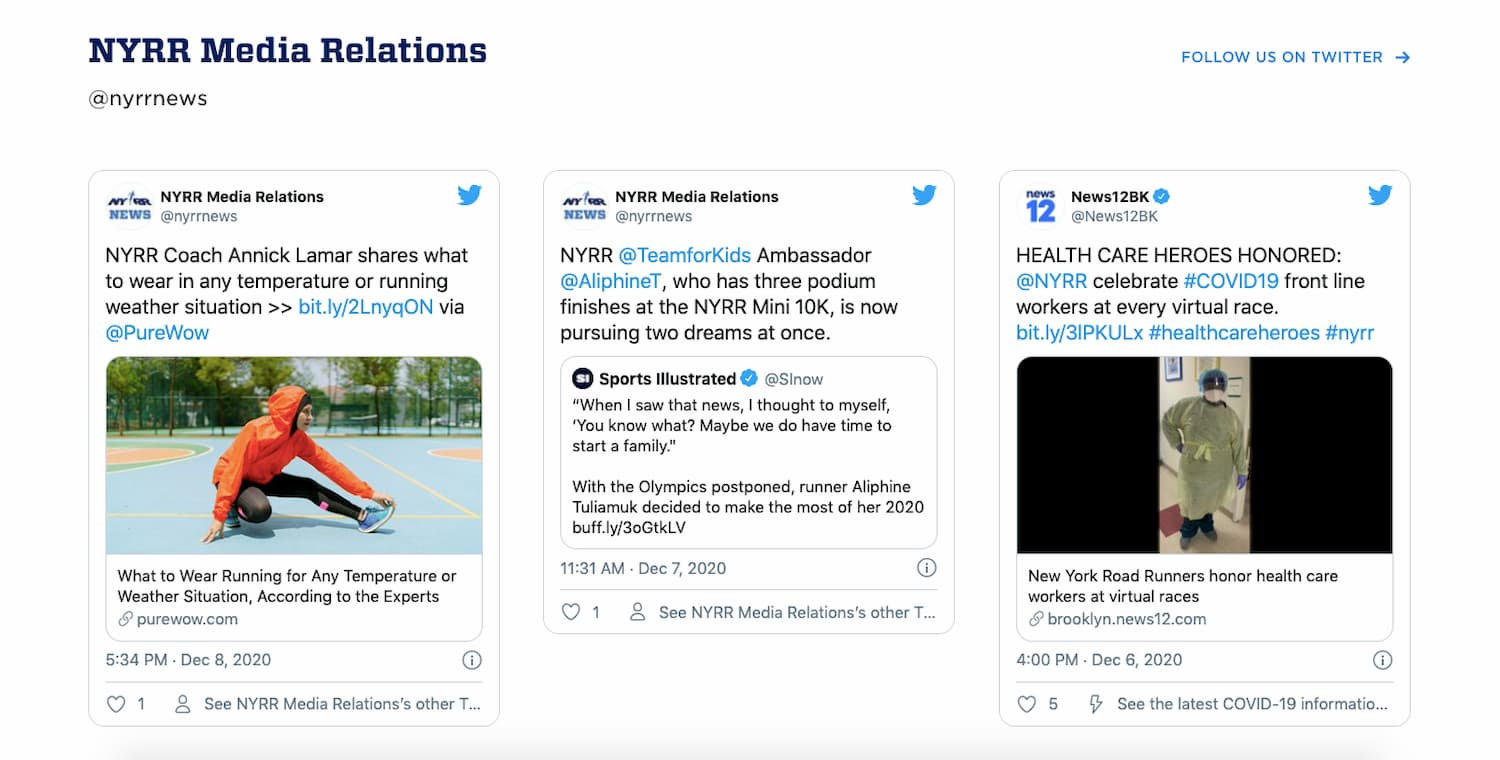 New York Road Runners website embeds Tweets using Twitter API