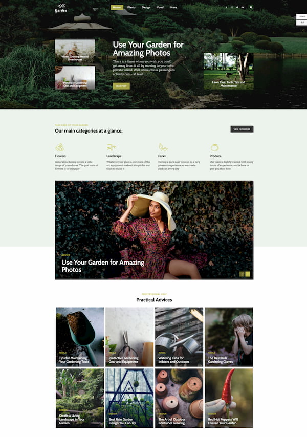 Newspaper themes Garden blog demo site built with HTML5