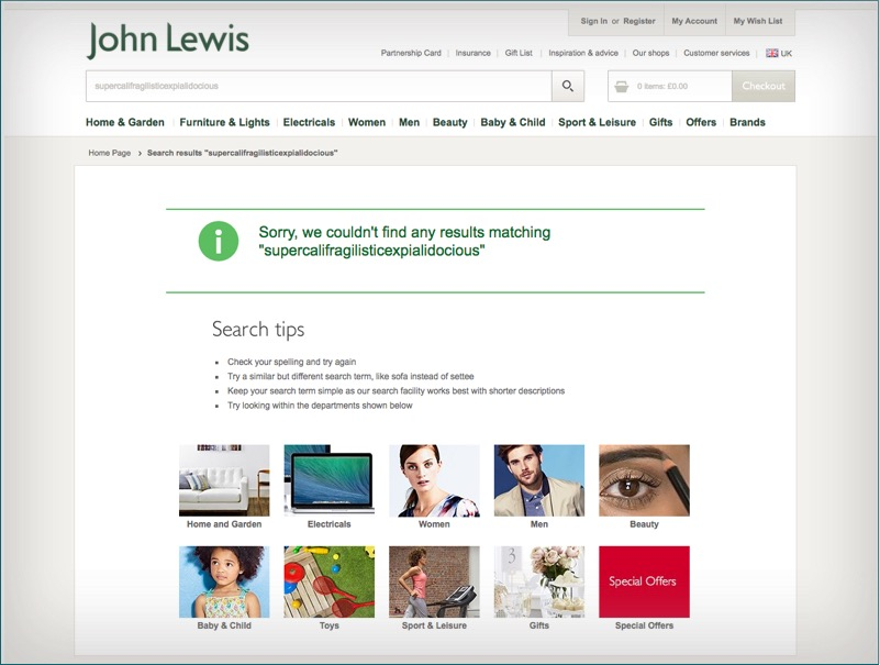 examples of no results found page john lewis