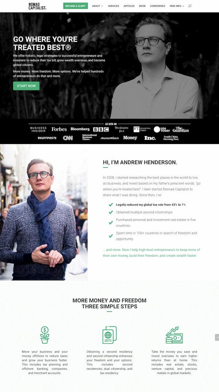 Nomad Capitalist website built with Divi theme