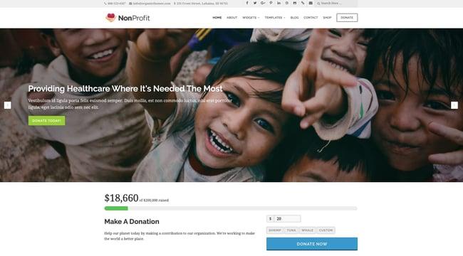 NonProfit demo by Organic Themes WordPress theme for nonprofit organizations