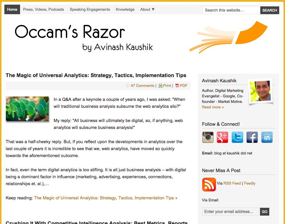 Occam's Razor by Avinash Kaushik