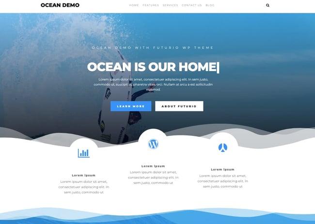 Ocean demo of free responsive WordPress theme Futurio