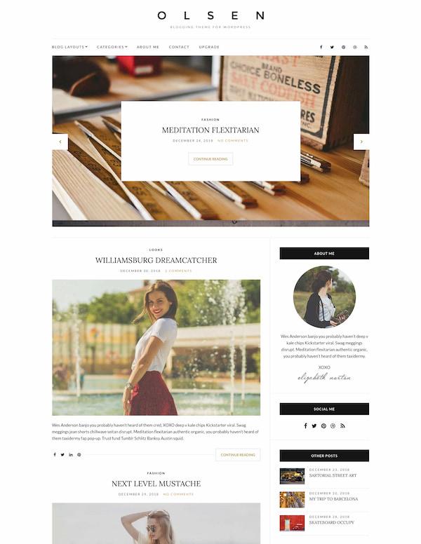 Olsen Light WordPress theme is minimalist fashion blog