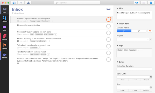 OmniFocus Time Management App
