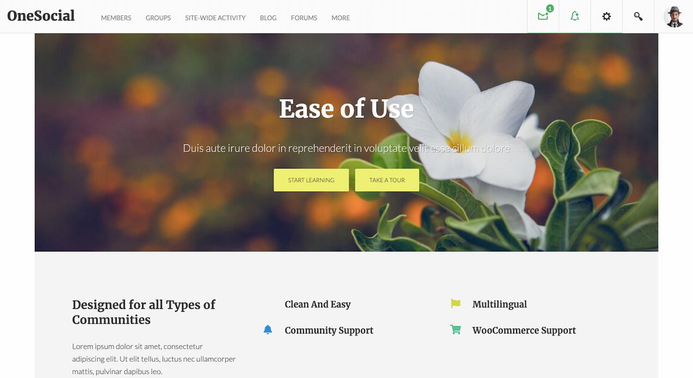 OneSocial theme demo shows a BuddyPress community website built on WordPress
