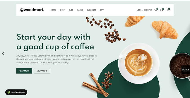 Online coffee shop demo of the WordPress ecommerce theme Woodmart