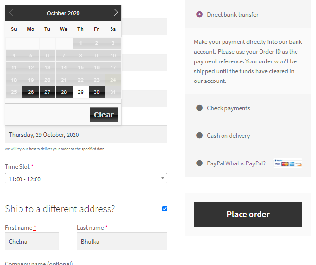 Order Delivery Date for WooCommerce plugin demo
