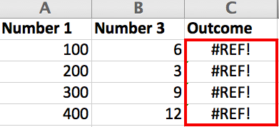 #REF! error in Excel due to a deleted column