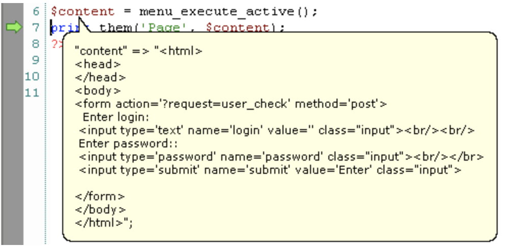 PHP debugger example of Codelobster simplify process coding