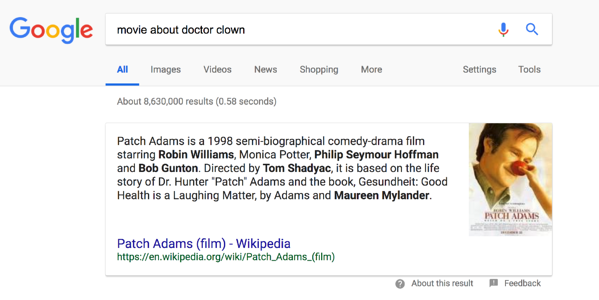 Patch Adams featured snippet.