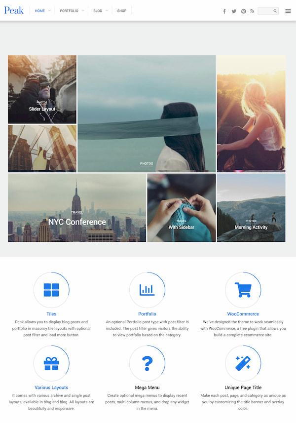 Peak WordPress thene with masonry grid of images