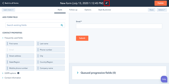 Pencil icon to edit form name outlined in red in HubSpot form builder