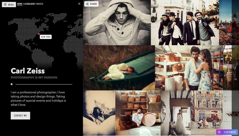 Masonry homepage demo of Moon WordPress theme