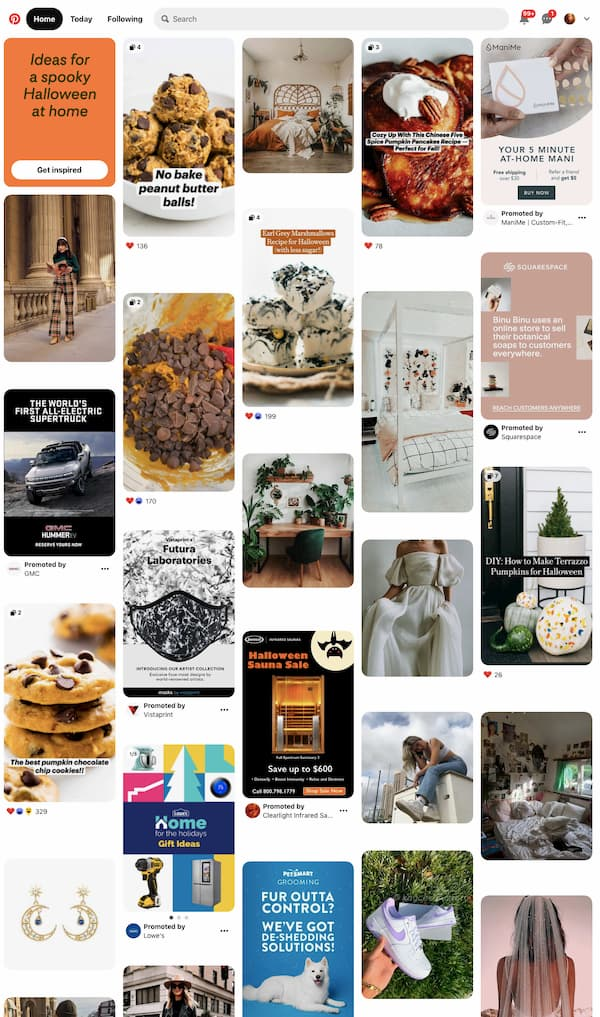 Pinterest masonry grid homepage