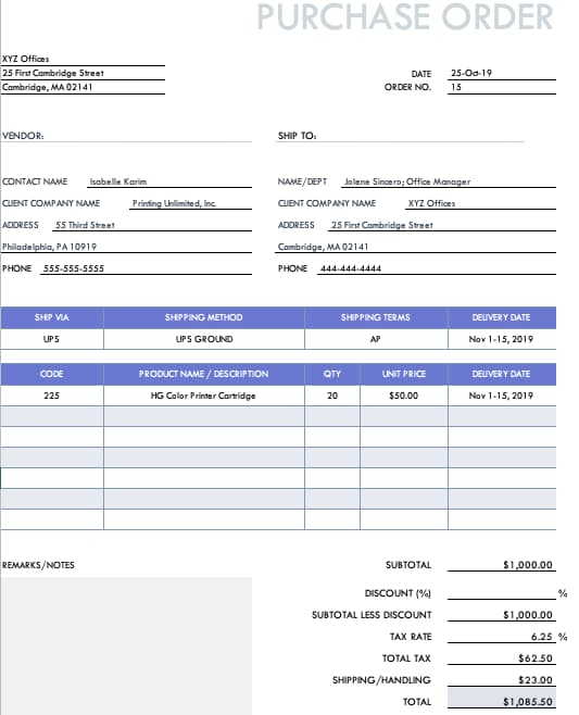 Example of a planned purchase order