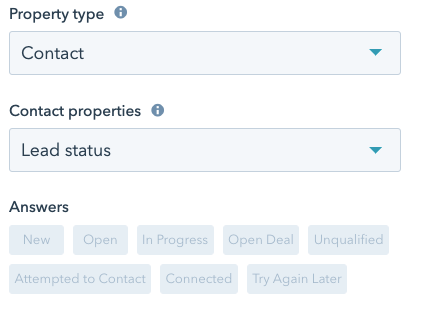 "Selecting the ""Contact"" Property type and ""Lead status"" Contact properties from two drop-down menus followed by quick-reply Answers"