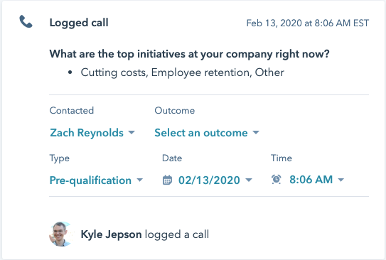 Log information from a call including the person on the call, date, and purpose of call