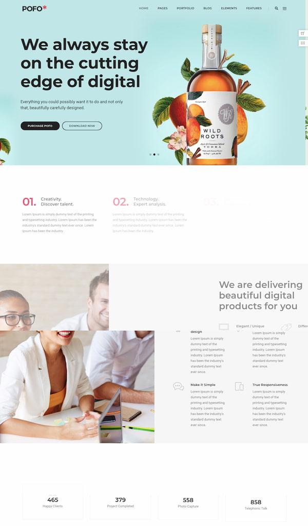 Pofo themes digital agency demo built with HTML5