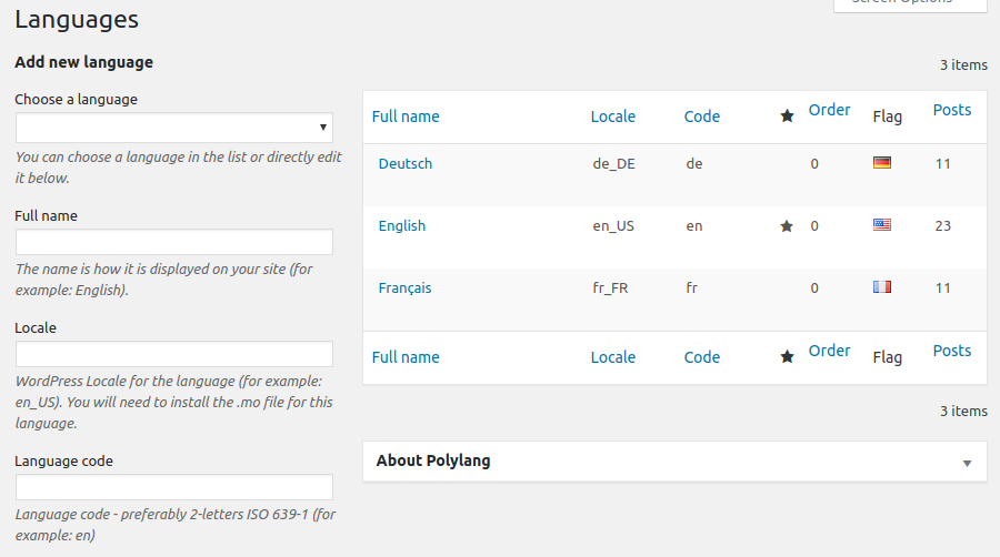 Polylang plugin showing how to create a multilingual site with WordPress