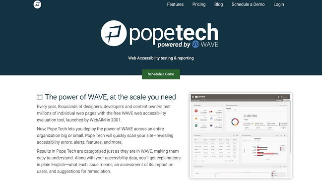 Pope Tech is an automated accessibility testing tool