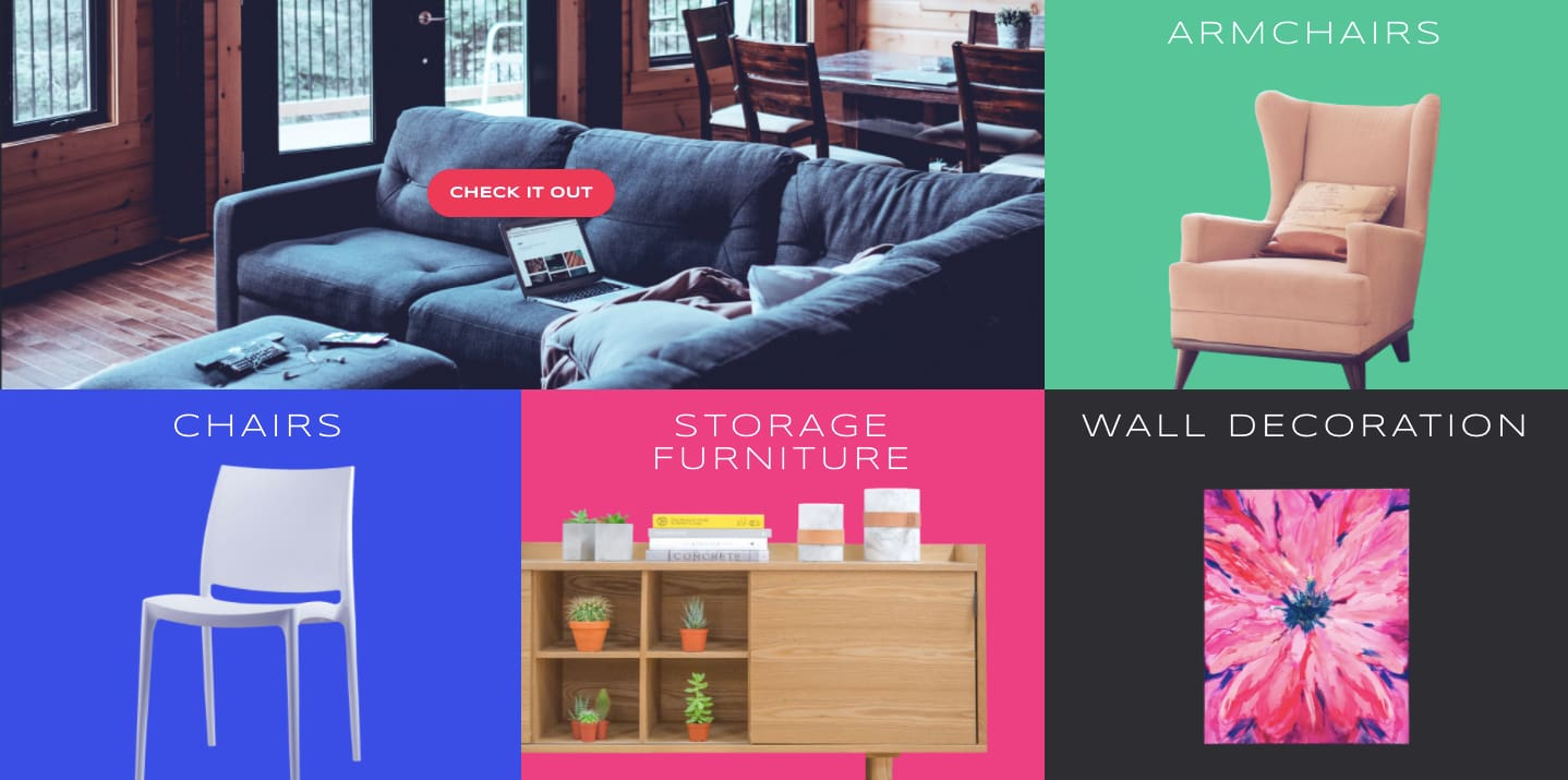 Portfolio section of furniture site demo created with Essential Grid Gallery WordPress Plugin