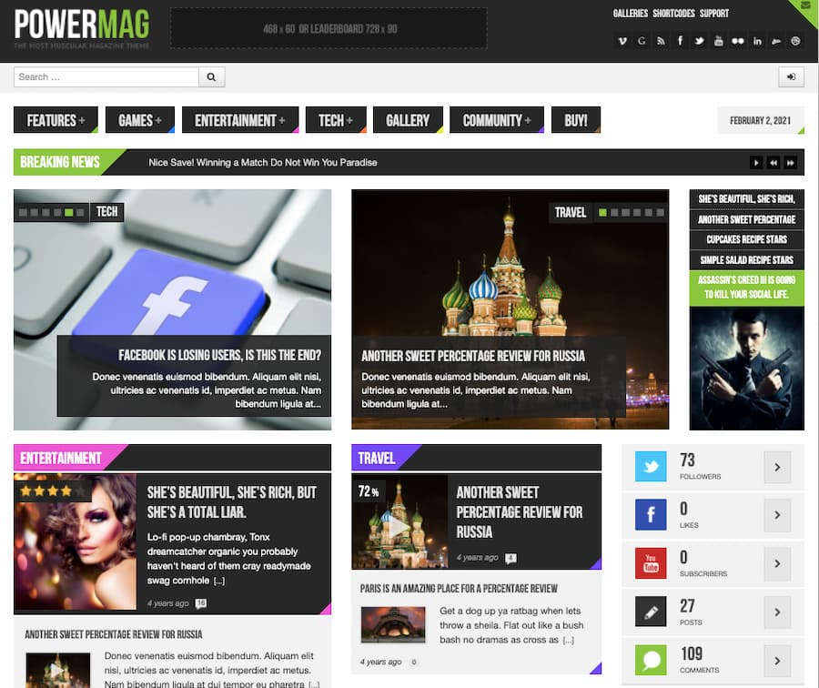 PowerMag theme demo includes review articles in entertainment and travel categories