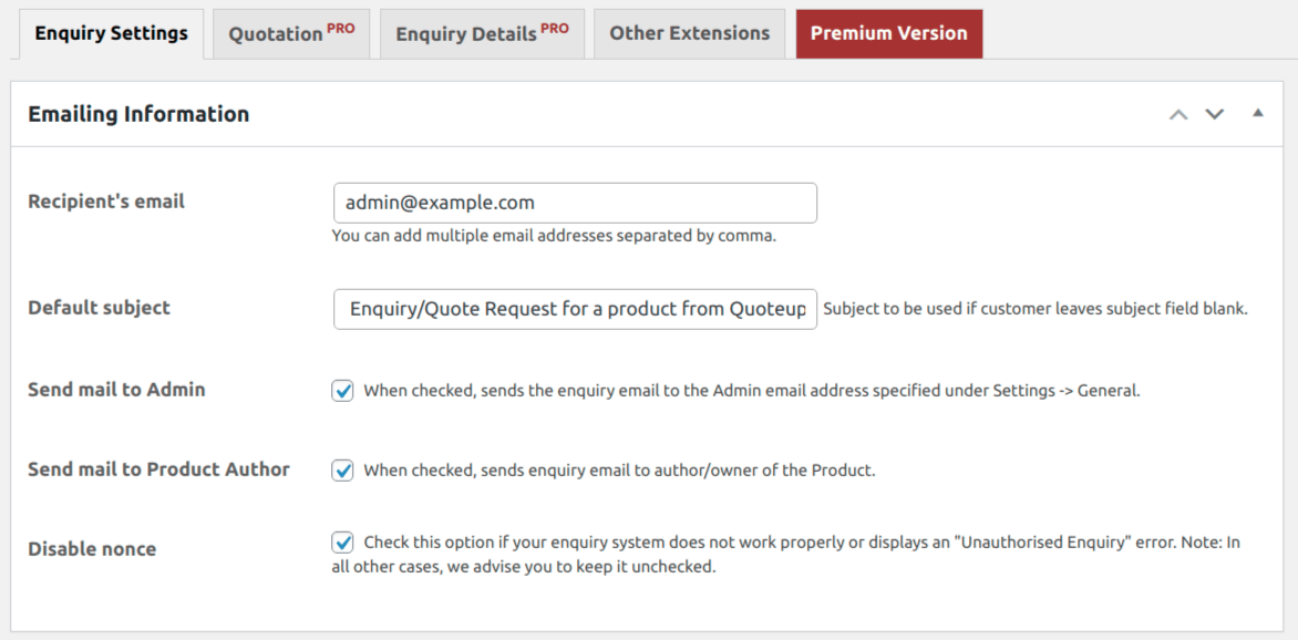 Product Enquiry for WooCommerce plugin settings in WP dashboard