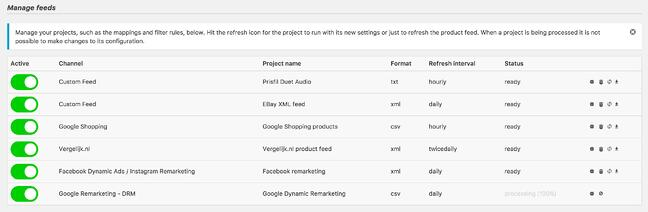 Product Feed PRO for WooCommerce plugin setting page where users can manage product feeds