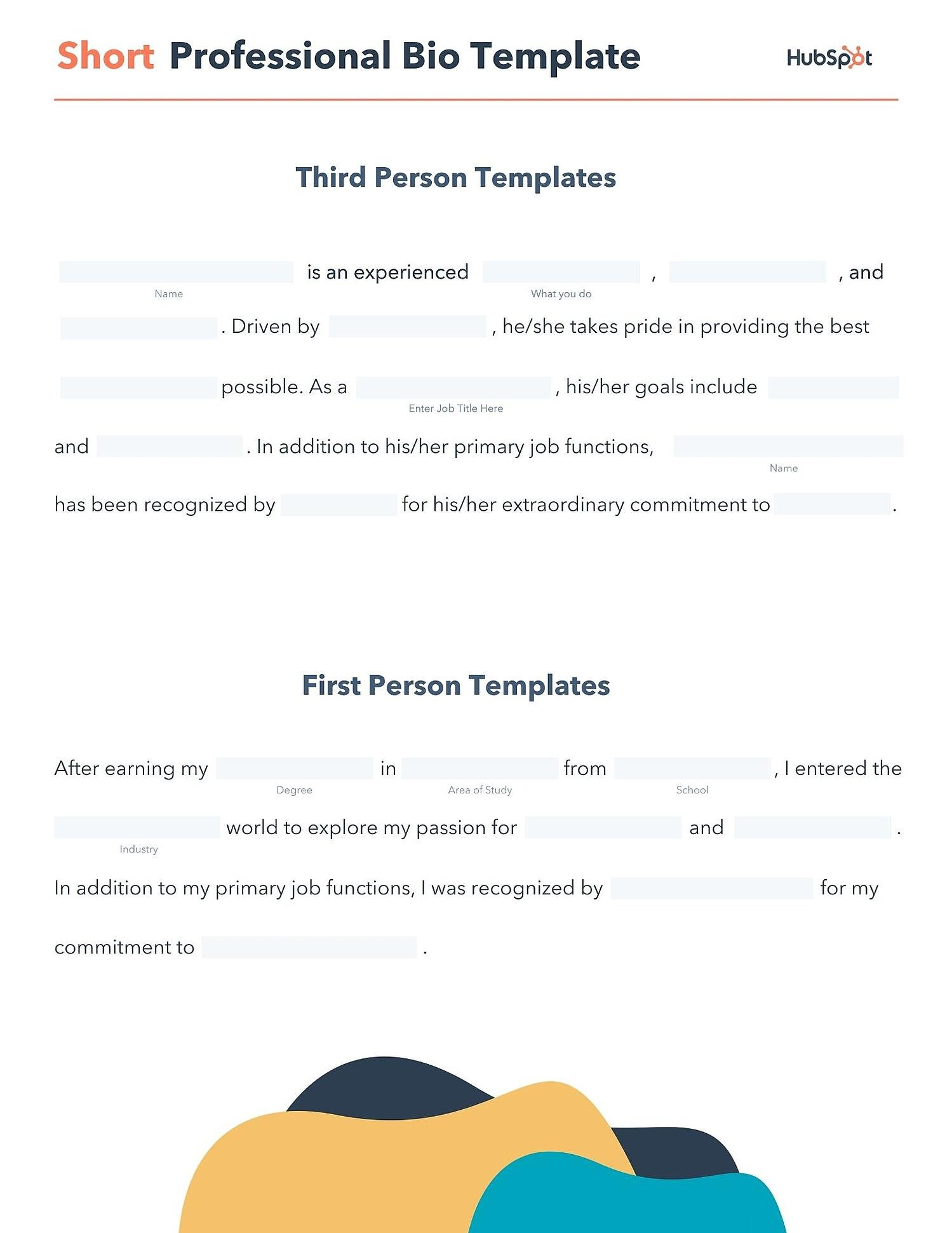 editable short professional bio pdf template