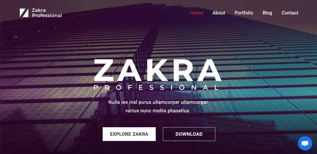 Professional demo of free responsive WordPress theme Zakra