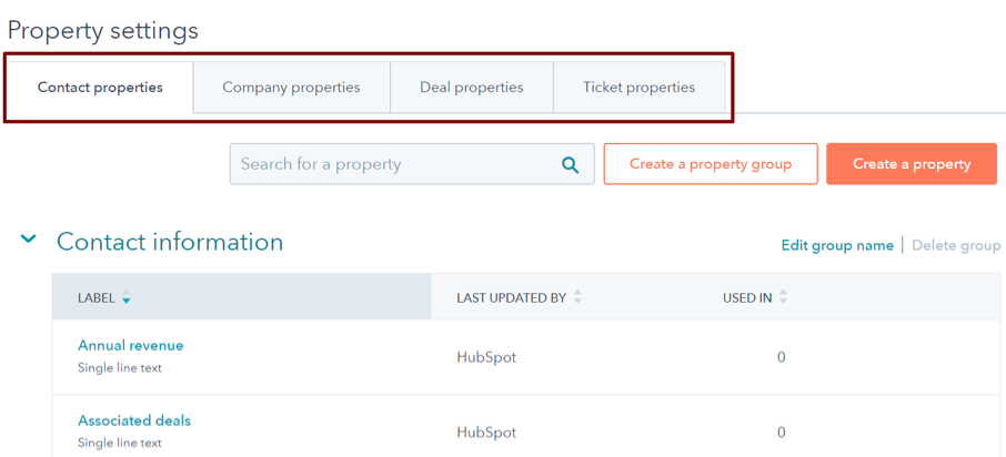 HubSpot Property Settings