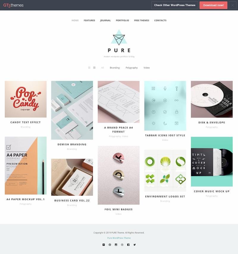 Pure WordPress theme demo displays homepage of minimalist portfolio