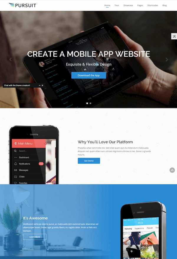 Pursuit WordPress theme demo for tech business