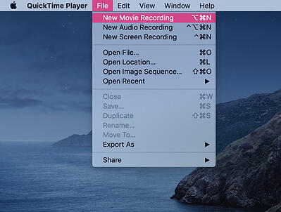 How to record a webinar quick time player in macbook step two select new movie recording