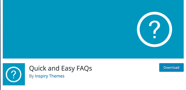 Blue background and question mark for Quick and Easy FAQ plugin download by inspiry themes