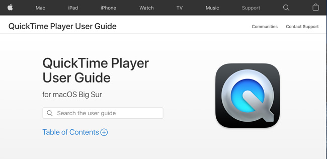 QuickTimePlayer Website homepage that says QuickTime Player user guide for macOS Big Sur and a search bar below it to search the user guide