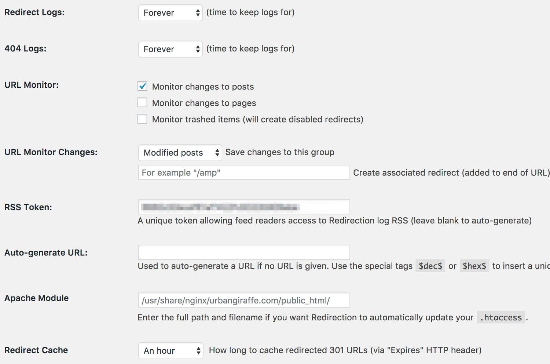 Redirection WordPress plugin configured to monitor URLS