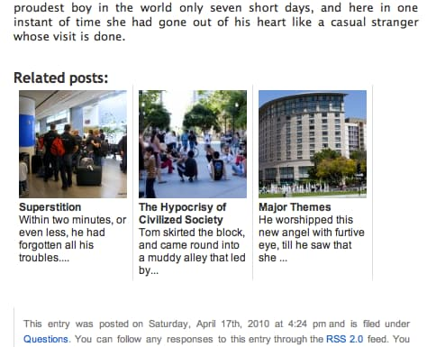 Related Posts Thumbnail demo of display of three posts
