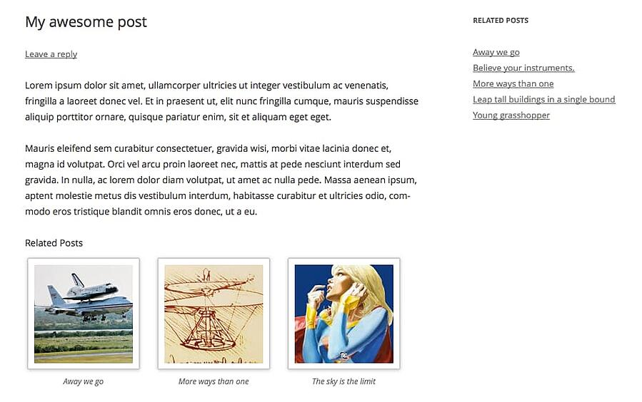 Related Posts by Taxonomy plugin supports displays at end of WordPress posts and in sidebar