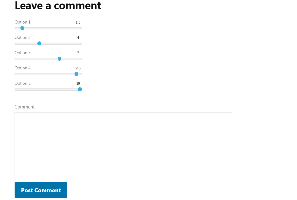 Review with comment form via WP Product Review plugin