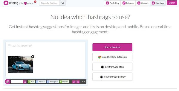 RiteTag for enhancing tweets and hashtags