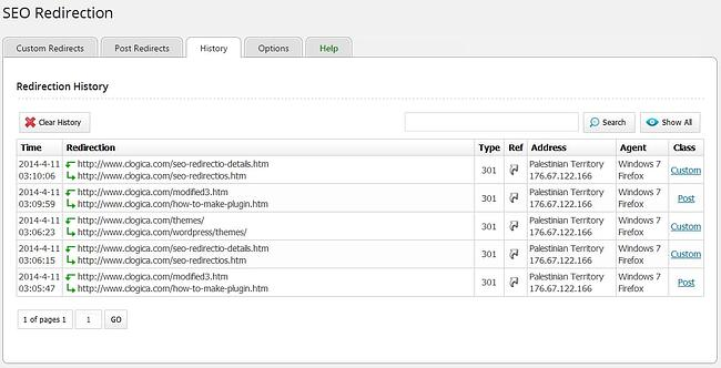 SEO Redirection plugin log in WordPress dashboard