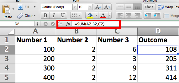 =SUM formula in Excel