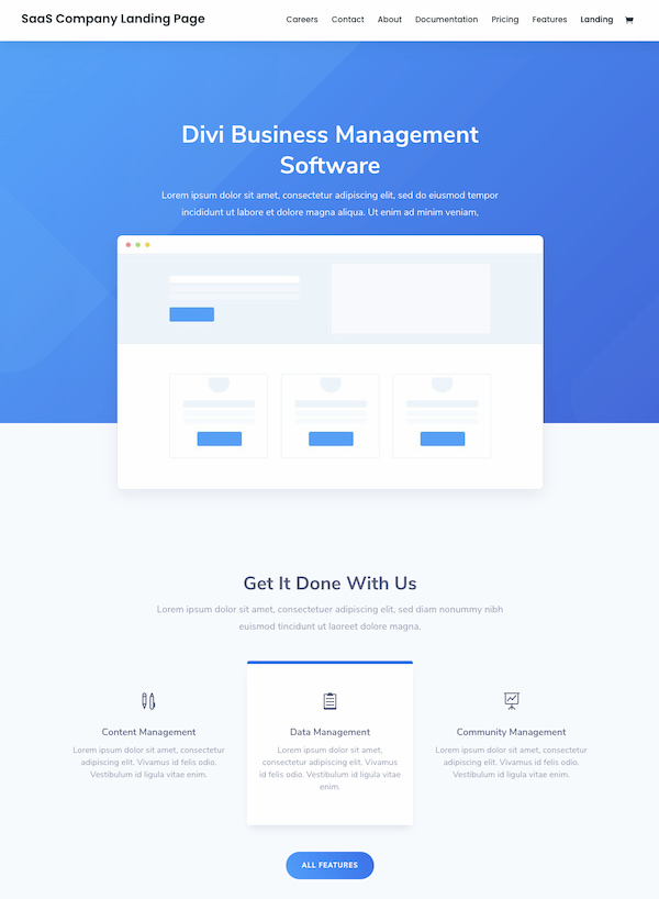SaaS Company landing page from Divi website pack