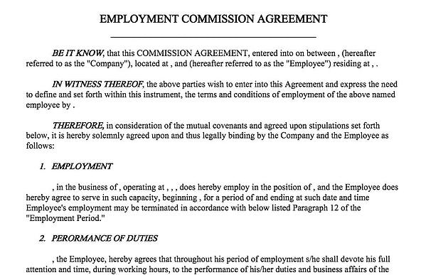 Sales Commission Agreement Template From FormSwift