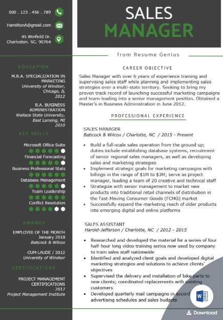 Sales Manager Resume Template from Resume Genius
