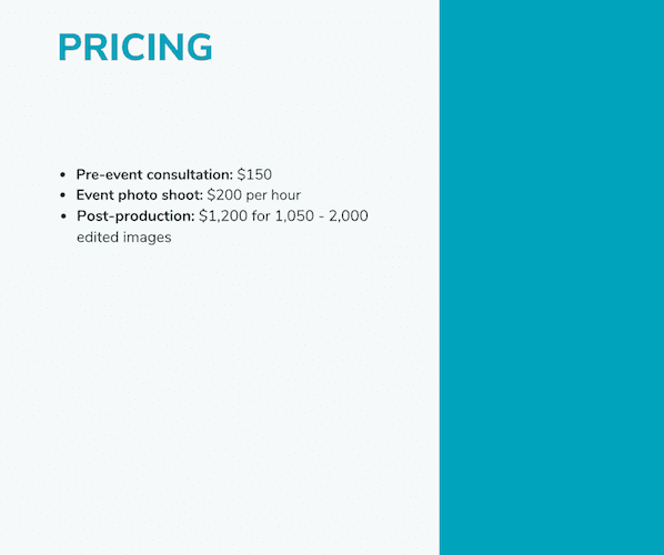Business Proposal Example Pricing
