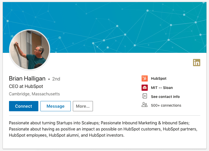 The LinkedIn profile of Brian Halligan CEO at HubSpot