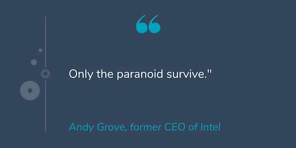 "Quote by Andy Grove that reads ""Only the paranoid survive."""